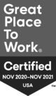 Great Place To Work Certified October 2019 - October 2020 USA